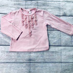 Mayoral 12m LS pink tee with ruffle design